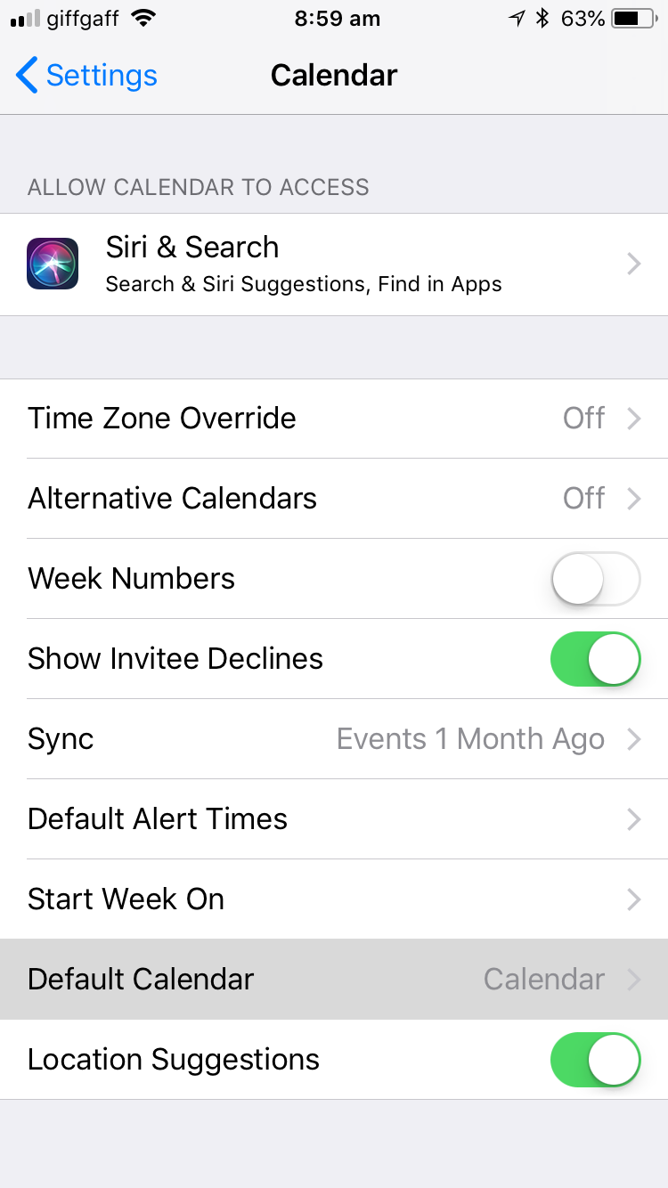 How to change default calendar on iPhone