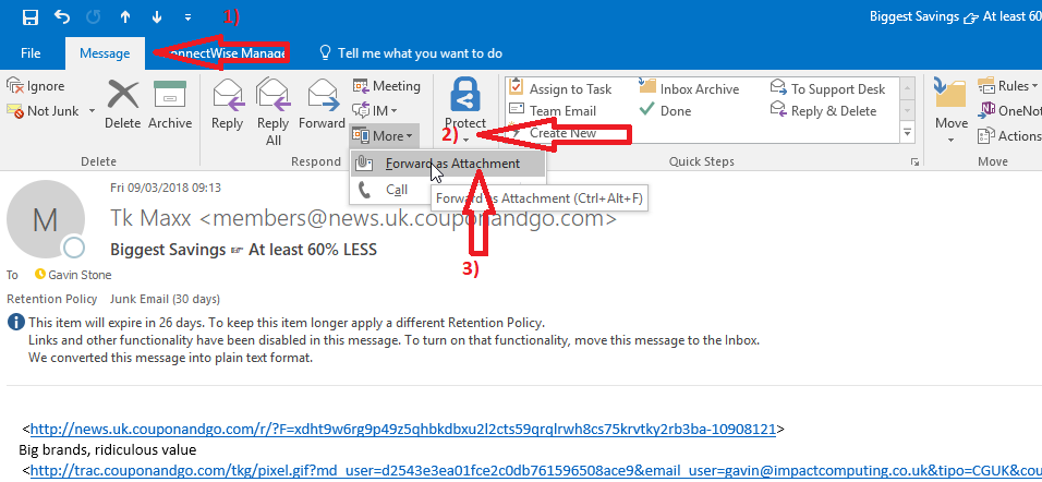 Reporting an e-mail as spam