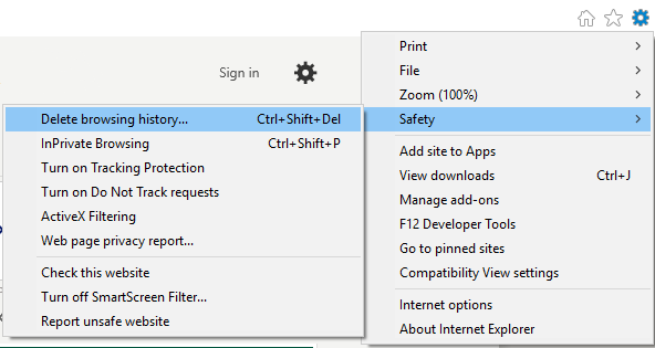 How to clear browsing data in Internet Explorer